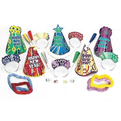Let's Party New Years Eve Party 25 Pc Assortment Kit For 10 Hats Tiaras Leis Hor