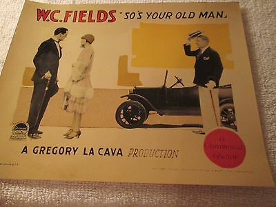 "Photo of Lobby Card on Professional Fuji Paper W C Fields ""So's Your Old Man"""