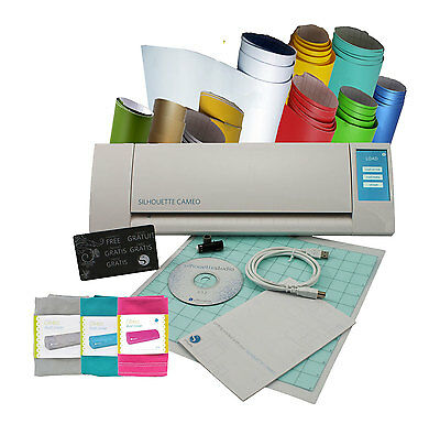 Silhouette Cameo V2 + 10 Assorted Vinyl + Dust Cover Bundle