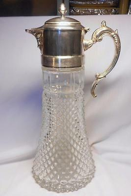 Good Large Very Heavy Silver Plate & Pressed Glass Claret Jug~Scroll Handle