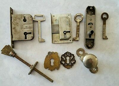 Misc Pieces ~ 3 Locks with Skeleton  Keys Brass Key Hole Covers Door Knob