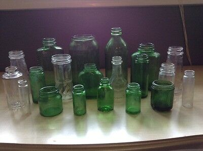 20 Vintage Green and Clear Bottles