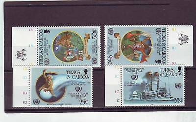 a118 - TURKS & CAICOS - SG849-852 MNH 1985 INTERNATIONAL YOUTH YEAR