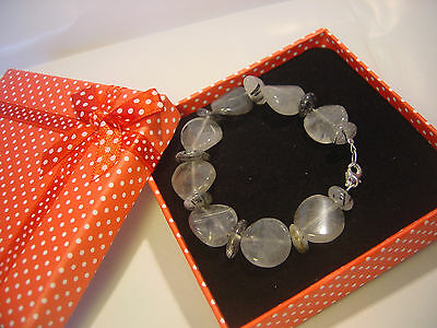 """Beautiful Real Rutile Quartz Bracelet-Hand Made-Solid Silver Clasp -7"""""""