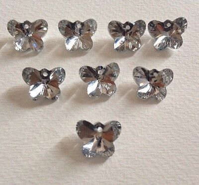 8 Beautiful Crystal Cut Glass Butterfly  Beads. Jewelry / Crafts  -Silver -14mm
