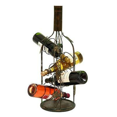 Benzara 55978 Wine Bottle Shaped Wine Rack Stand With 4 Slots