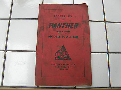 Original Motorcycle Book Panther Models 100 120 Motorcycles Spare Parts List