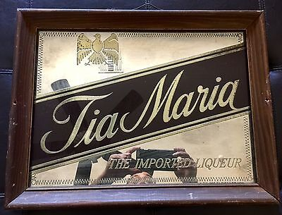Vintage  TIA MARIA LIQUOR BAR MIRROR WOOD FRAME