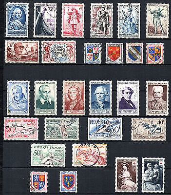 France// 28 Timbres Obliteres De 1953 - Annee Complete