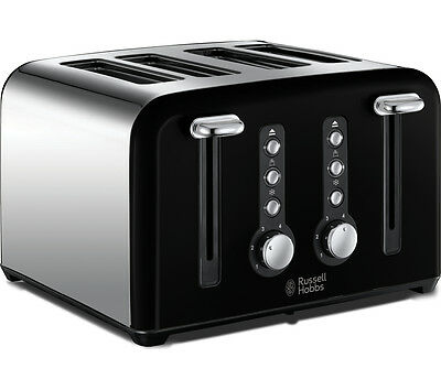 RUSSELL HOBBS Toaster Windsor 22832 4-Slice Wide Slot Defrost Function NEW BLACK