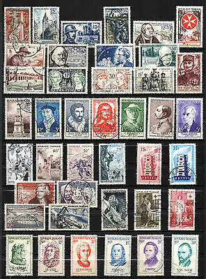 France// 41 Timbres Obliteres De 1956 - Annee Complete