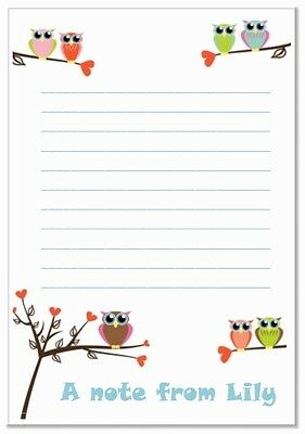 na Personalised NOTELETS lined writing paper pk 14 & envelopes, notes, A6 OWL x
