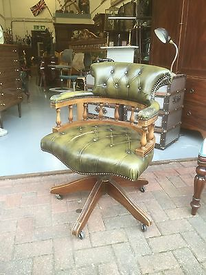 Chesterfield Antique Green Leather Buttoned Back Chair. Open To Offers.