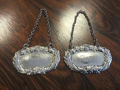 Quality Antique Silver Plate Gin & Brandy Decanter Labels. Open To Offers.