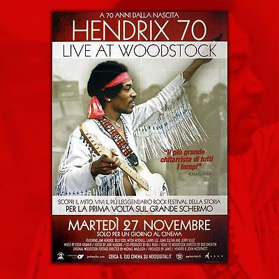 Original Movie Poster Jimmy Hendrix 70 Live At Woodstock - Size. 100x140 CM