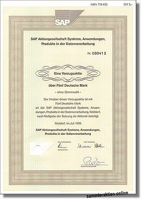 SAP AG Weinheim Walldorf Business-Software R/1 R/2 R/3 R/4 - Vorzugsaktie 1995