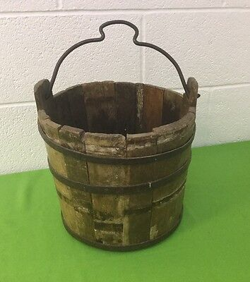 Vintage Wooden Iron Metal Banded Bucket Pale Dairy Well