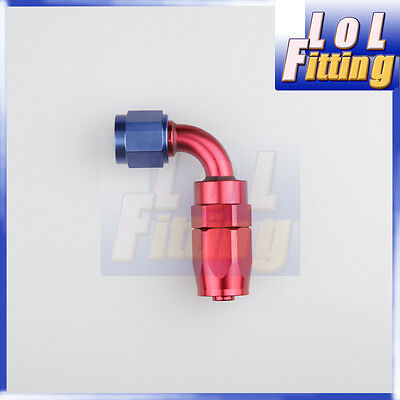 -6 An -6 6An 90 Degree Swivel Oil Fuel Line Hose End Fitting Adaptor Red/blue