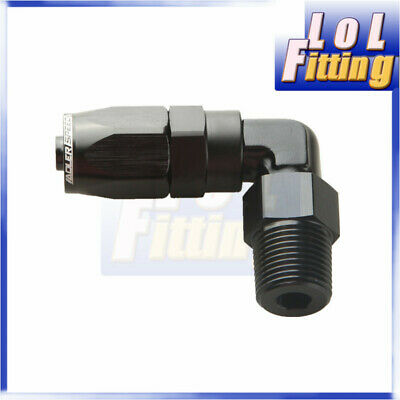 "-6 AN6 AN -6 6AN to 3/8"" NPT 90 Degree Swivel Hose End Fitting Adaptor Black"