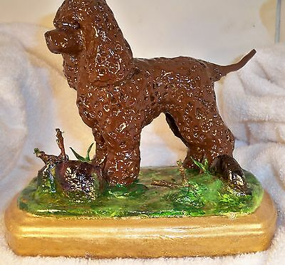 Dog Figurine IRISH WATER SPANIEL Standing/Base GREAT BREED FIGURE-ONE OF A KIND