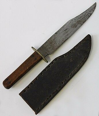 1870's Cowboy Bowie Knife Manhattan Cutlery Co. Rugged, Handmade Leather Sheath