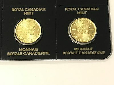 Gold coins 24 carat pure with a 999.9 fineness Canadian maple 1gram x2