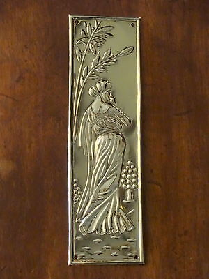 Reclaimed Brass Art Nouveau Finger Door Push Plate Fingerplate