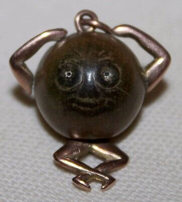 """Rare to Find in 9 CT Gold! Iconic WWI British """"Fumsup Touchwud"""" Good Luck Charm"""