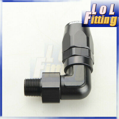 "-10 AN 10AN  AN10 to 3/8"" NPT 90 Degree Swivel Hose End Fitting Adaptor Black"