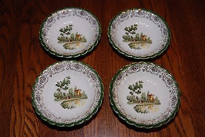 American Limoges Chateau France Mandarin Green KS 384 Set of 4 Berry Bowls