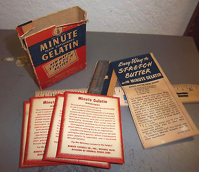 Vintage Minute Gelatin box still full - box top ripped, Great colors & graphics