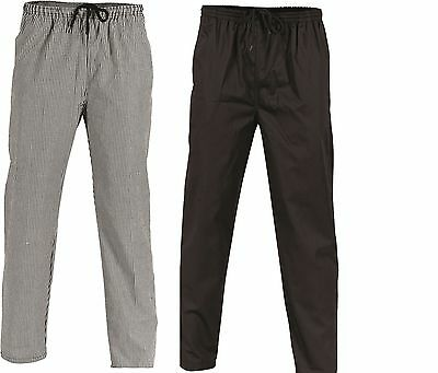 3 Pk Chef Polyester Cotton Drawstring Chef Pants- Great Quality Black Or Check