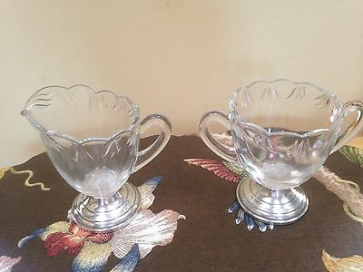 Sterling By Fina Weighted Cream And Sugar Set Glass
