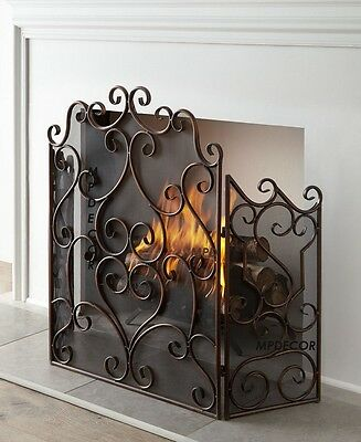 Tuscan French Chateau Scroll Old World Kora Fireplace Fire Screen