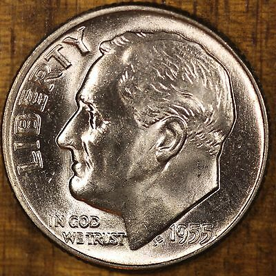 1955 P Roosevelt Dime  CH BU  LUSTER! 90% Silver US Coin UNC