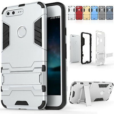 Shockproof Rubber Hard Cover Phone Case Kickstand For Google Pixel / Pixel XL