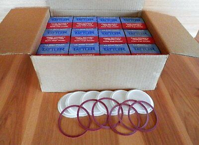 TATTLER REUSABLE WIDE MOUTH CANNING LIDS, 12 boxes of 12 lids and rings each