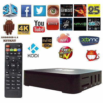 Android 4.4 TV Box Quad Core 4K 1080P Fully Loaded KODI XBMC Free Sports Movies