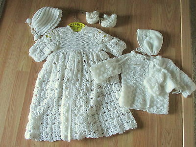 Vintage Crochet White Christening Gown Dress Cap Booties Sweater Lot