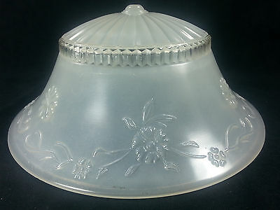 Ceiling Light Fixture Hanging Glass Art Deco Floral  Frosted Shade Vintage