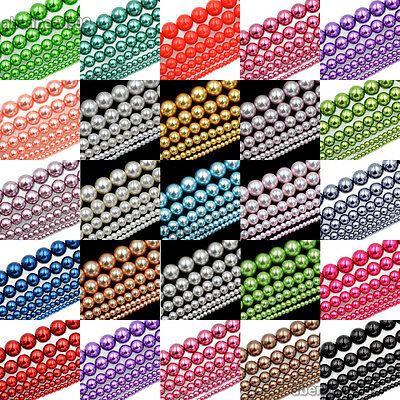 Top Quality Czech Glass Pearl Round Loose Beads 16'' 3mm 4mm 6mm 8mm 10mm