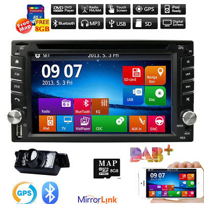"HD 6.2"" Double 2Din In Dash Car Stereo DVD Player GPS Navigation BT Radio+CAMERA"