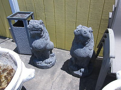 Vintage pr. Chinese Blue Stone Temple Foo Dogs, guardians