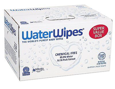 WaterWipes Super Value Box Baby Wipes, 9 Packs Of 60 Count | 540 Baby Wipes