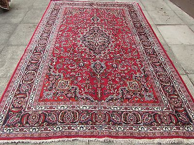 Old Shabby Chic Hand Made Traditional Persian Oriental Wool Red Rug 288x199cm