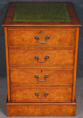Georgian Style Burr Elm 2 Drawer Leather Top Filing Cabinet / Chest