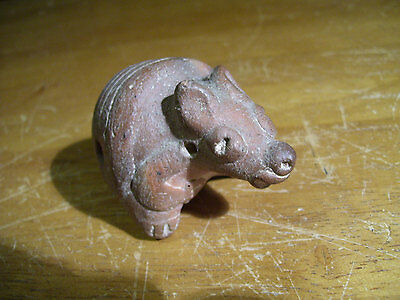 Precolumbian Armadillo Pottery Ocarina 5-Note Whistle 3-1/2 by 2 inches Clay Fig