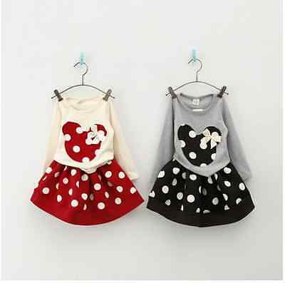 2pcs Toddler Infant Girl Winter Outfit Minnie Tops + Skirt Dress Kid Clothes Set