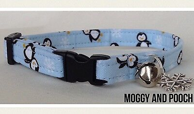 Handmade Christmas Penguins Cat Collar, Safety Release  Buckle, Bell and Charm