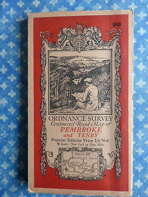 Old Antique Ordnance Survey One-Inch 1933 Map Pembroke and Tenby